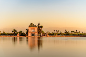 The Menara gardens are botanical gardens located to the west of Marrakech, Morocco, near the Atlas Mountains.