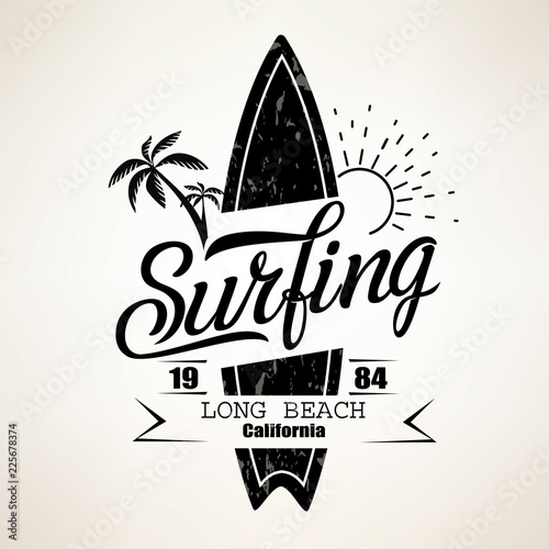 Fototapeta Surfing emblem template, surfboard silhouette with lettering
