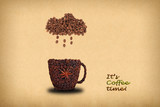 Creative concept photo of a cup of coffee and cloud with rain  made of coffee beans.  Inscription