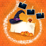 Halloween background with sparkles, hat and photo frames - 225681787