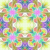 Multicolored flower pattern in stained-glass window style. You can use it for invitations, notebook covers, phone cases, postcards, cards, wallpapers and so on. Artwork for creative design. - 225682176