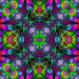 Multicolored seamless background in stained-glass window style. You can use it for invitations, notebook covers, phone case, postcards, cards, wallpapers and so on. - 225683537