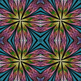 Multicolored floral pattern in stained-glass window style. You can use it for invitations, notebook covers, phone cases, postcards, cards, wallpapers and so on. Artwork for creative design. - 225685711
