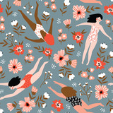 Repeated background with figures of young girls in swimsuits of different nationalities. Cute vector illustration in hand drawn style. Swimming collection. Seamless floral pattern. - 225686503