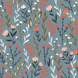 Seamless floral design with hand-drawn wild flowers. Repeated pattern can be used for web page background, surface textures and fabrics. Vector illustration. - 225686587