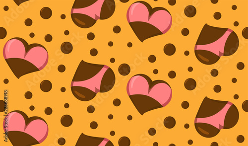 Seamless pattern with Stylized Heart icons with underwear, ass in bikini and boobs in bra. Good for Valentine s Day love greeting card, poster, banner, logo, icon for lingerie shop or sex shop © Anna