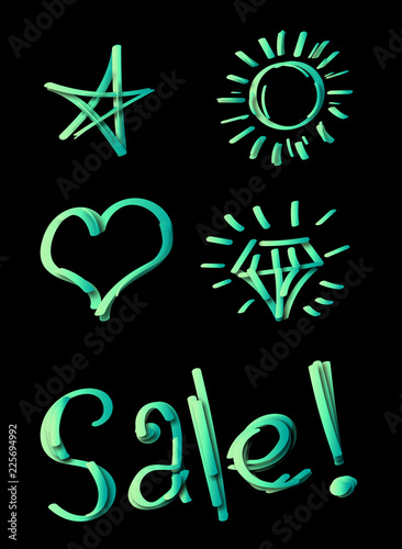 Fluorescent objects on a black background in the form of icons and text