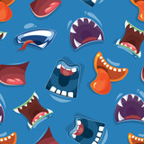 Seamless pattern with color cartoon monster mouths background. Vector illustration - 225707550