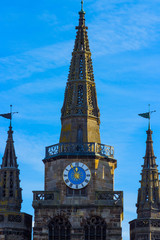 three towers, the old spire of the Evangelical Church in Ansbach, Bavaria, Germany