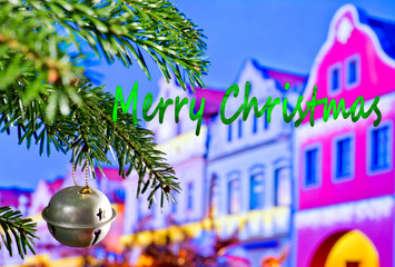 Christmas Bell and Christmas Twig  with Writing Merry Christmas © Václav Mach