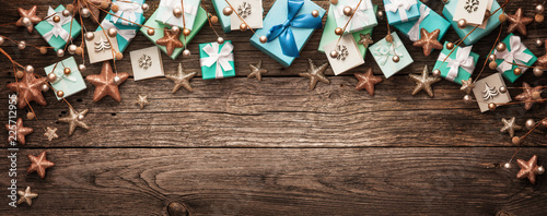 Christmas Decorations and Gifts on a Wooden Background