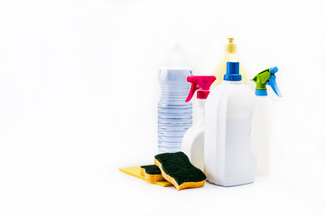 Cleaning products isolated on white background. Copyspace