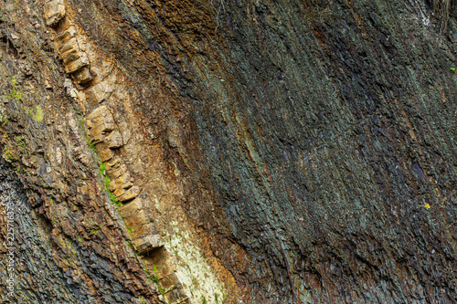 colorful rock layers interesting background with fascinating texture - 225716373
