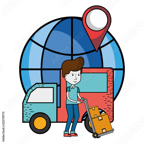 Fototapeta Delivery service cartoon