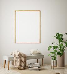 mock up poster frame in hipster interior background, living room, Scandinavian style, 3D render, 3D illustration © mtlapcevic