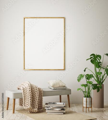 mock up poster frame in hipster interior background, living room, Scandinavian style, 3D render, 3D illustration - 225720160