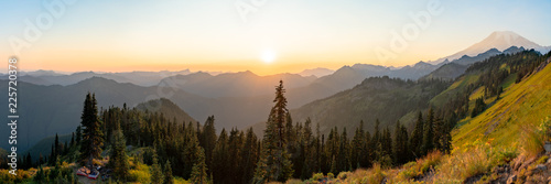 Panorama of Mt. Rainier National Park at Sunset, Washington