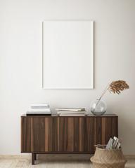 mock up poster frame in hipster interior background, living room, Scandinavian style, 3D render, 3D illustration
