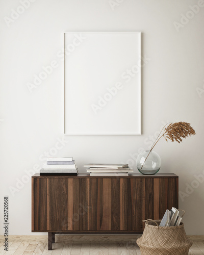 mock up poster frame in hipster interior background, living room, Scandinavian style, 3D render, 3D illustration - 225720568