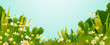 Dandelions and daisies flowers with grass and bushes isolated on blue sky background vector illustration. - 225731556