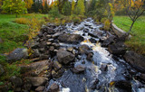 Michigan Roadside Park. Rocky River flows through a beautiful roadside park at Tioga Falls outside of Marquette Michigan.