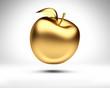 canvas print picture - Goldener Apfel vor Weiß