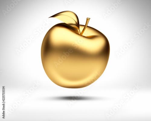 canvas print picture Goldener Apfel vor Weiß