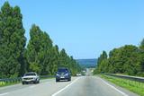Asphalt road with dividing strip and landscapes on sides. Traveling concept