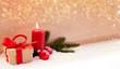 Leinwandbild Motiv Weihnachten Header zum ersten Advent mit Kerze