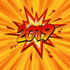 Happy new year 2019 pop art comic festive poster or greetings card with lightning blast and halftone dots.
