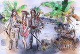 Pirates. An hand drawn illustration. Freehand drawing, painting. - 225746787