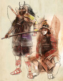 Samurai warriors. An hand drawn illustration. Freehand drawing, painting. - 225746904