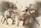Elephant polo. An hand drawn illustration. Freehand drawing, painting. - 225746954