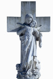 Ancient stone sculpture Virgin Mary holding a baby Jesus on a cross as symbol of empathy and suffering of Virgin Mary with Jesus Christ - 225746985