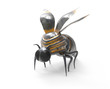 Mechanical insect with wings and white background