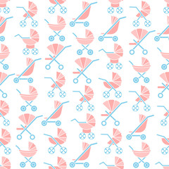 Vector flat seamless pattern with baby carriages and strollers. Suitable for wallpaper, wrapping or textile © medava