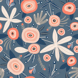 Seamless pattern with flowers,palm branch, leaves. Creative floral texture. Great for fabric, textile Vector Illustration - 225751167