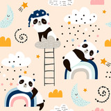 Seamless pattern with cute sleeping pandas, moon, rainbows, clouds. Creative good night background. Perfect for kids apparel,fabric, textile, nursery decoration,wrapping paper.Vector Illustration - 225751181