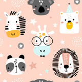 Seamless childish pattern with funny animals faces . Creative scandinavian kids texture for fabric, wrapping, textile, wallpaper, apparel. Vector illustration - 225751190