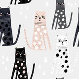 Seamless childish pattern with funny leopards. Creative scandinavian kids texture for fabric, wrapping, textile, wallpaper, apparel. Vector illustration - 225751321