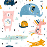 Seamless childish pattern with funny rainbow animals . Creative scandinavian kids texture for fabric, wrapping, textile, wallpaper, apparel. Vector illustration - 225751357