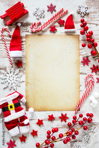 Christmas Flat Lay, Snow, Vertical Paper, Copy Space - 225756190