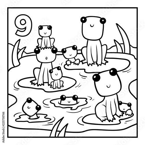 Coloring book, Nine frogs