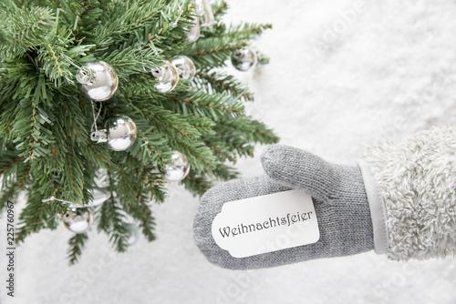 Leinwandbild Motiv Christmas Tree, Glove, Weihnachtsfeier Means Christmas Party
