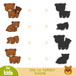 Find the correct shadow, game for children, Set of bears