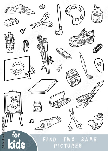 Find two the same pictures, game for children. Black and white set of artists objects
