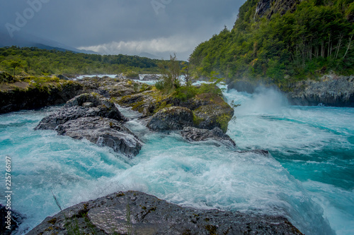 Saltos de Petrohue. Waterfalls in the south of Chile, formed by volcanic action - 225766197