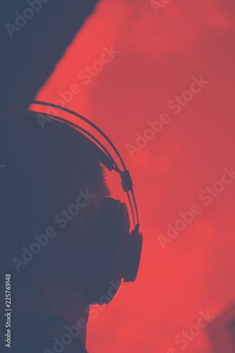 DJ deejay producer wearing headphones - 225769148