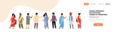 indian people group wearing national traditional clothes hindu man woman communication concept male female cartoon character full length isolated horizontal banner copy space flat vector illustration.