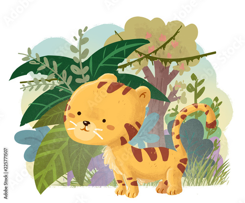 Naklejka tigre feliz en la selva